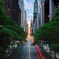 Manhattanhenge From 42nd Street, New York City by Andrew C Mace