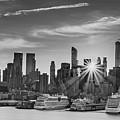 Manhattan's Ports At Sunrise Bw by Francisco Gomez