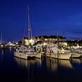 Manteo Waterfront Marina At Night by Greg Reed