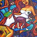 Maori Girl And Three Cats by Dianne  Connolly