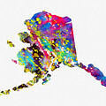 Map Of Alaska-colorful by Erzebet S