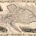 Map Of Austria 1850 by Andrew Fare