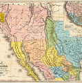 Map Of California New Mexico Texas  1849 by Bill Cannon