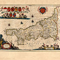 Map Of Cornwall 1646 by Andrew Fare