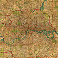 Map Of London England United Kingdom Vintage Street Map Schematic Circa 1899 On Old Worn Parchment  by Design Turnpike