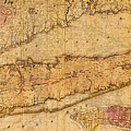 Map Of Long Island New York State In 1842 On Worn Distressed Canvas  by Design Turnpike