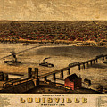 Map Of Louisville Kentucky Vintage Birds Eye View Aerial Schematic On Old Distressed Canvas by Design Turnpike