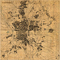 Map Of Madrid Spain Vintage Street Map Schematic Circa 1943 On Old Worn Parchment  by Design Turnpike