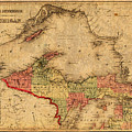 Map Of Michigan Upper Peninsula And Lake Superior Vintage Circa 1873 On Worn Distressed Canvas  by Design Turnpike
