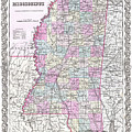 Map Of Mississippi by Joseph Hutchins Colton