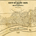 Map Of Saint Paul 1852 by Andrew Fare