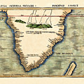 Map Of South Africa 1513 by Andrew Fare
