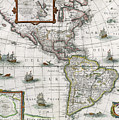 Map Of The Americas by Henricus Hondius