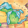 Map Of The Great Lakes by Jennifer Thermes