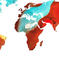Map Of The World 4 -colorful Abstract Art by Sharon Cummings
