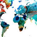 Map Of The World 6 -colorful Abstract Art by Sharon Cummings