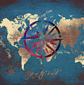 Map Of The World Wind Rose 4 by Justyna JBJart