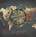 Map Of The World Wind Rose 5 by Justyna JBJart