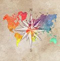 Map Of The World Wind Rose 7 by Justyna JBJart