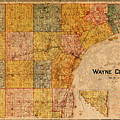 Map Of Wayne County Michigan Detroit Area Vintage Circa 1893 On Worn Distressed Canvas  by Design Turnpike
