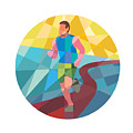 Marathon Runner In Action Circle Low Polygon by Aloysius Patrimonio