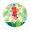 Marathon Runner Running Circle Low Polygon by Aloysius Patrimonio