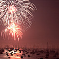 Marblehead Fireworks Above Masts by Jeff Folger