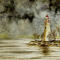 Marblehead Lighthouse In The Winter by Michael Vigliotti
