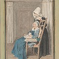 Marie Louise Petit At The Age Of 105, With Her Young Nurse by Louis Carrogis, Called Carmontelle