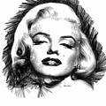 Marilyn Monroe Sketch In Black And White 2 by Rafael Salazar