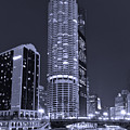 Marina City On The Chicago River In B And W by Steve Gadomski