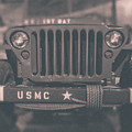 Marine Corps Jeep In Black And White by Emily Kay