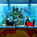 Marinelife Observing Couple Sitting In Chairs by John Lyes