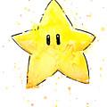 Mario Invincibility Star Watercolor by Olga Shvartsur