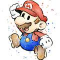 Mario Watercolor Fan Art by Olga Shvartsur