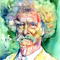 Mark Twain Watercolor by Suzann Sines