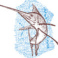 Marlin Woodcut by Aloysius Patrimonio