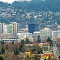 Marquam Bridge By Portland City Skyline Panorama by David Gn