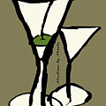 Martini With Green Background by Empowered Creative Fine Art