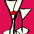 Martini With Pink Background by Empowered Creative Fine Art