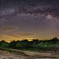 Marveling At The Creation Of God - Milky Way Panorama At Enchanted Rock - Texas Hill Country by Silvio Ligutti
