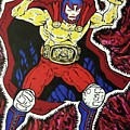 Masked Wrestler Collaboration by Suzanne  Marie Leclair