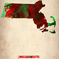 Massachusetts Watercolor Map by Naxart Studio