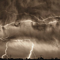 May Showers - Lightning Thunderstorm Sepia Hdr by James BO Insogna
