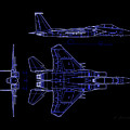 Mcdonnell Douglas F-15 Eagle Black Diagram Indigo Lines by L Brown