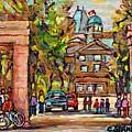 Mcgill Gates  Entrance Of Mcgill University Montreal Quebec Original Oil Painting Carole Spandau by Carole Spandau