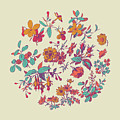 Meadow Flower And Leaf Wreath Isolated On Beige, Circle Doodle F by Svetlana Corghencea