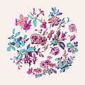 Meadow Flower And Leaf Wreath Isolated On Pink, Circle Doodle Fl by Svetlana Corghencea