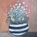 Meadow Flowers In Striped Vase  by Vesna Antic