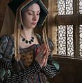Medieval Tudor Woman At Prayer by Lee Avison